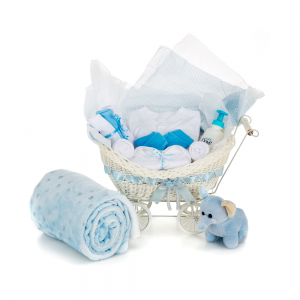 Newborn Baby Pram Shaped Gift Basket Hamper