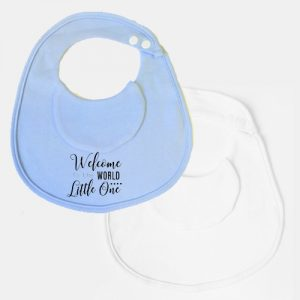 2 Pack Welcome to the world BibEasy Bibs Blue