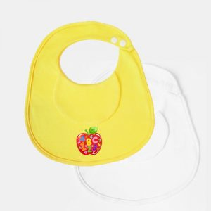 Pack features 1x 100% cotton baby bib and 1x waterproof PEVA backing baby bib